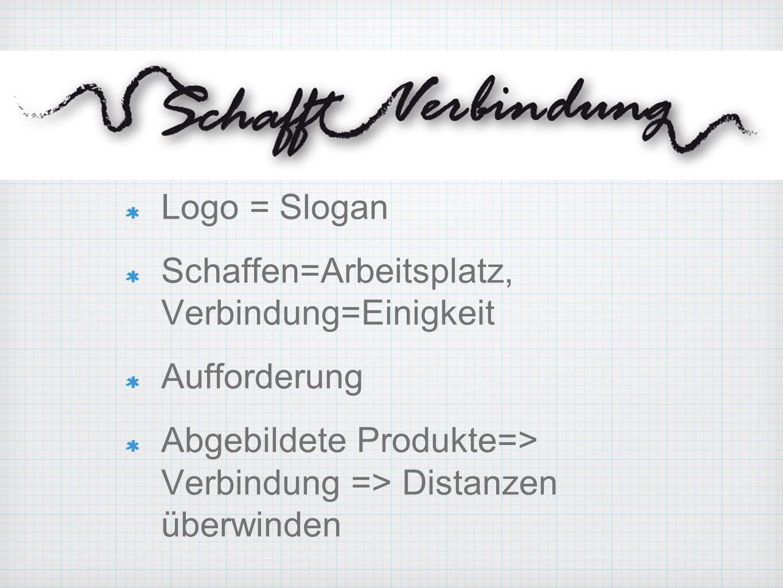 Logo = Slogan Schaffen=Arbeitsplatz, Verbindung=Einigkeit Aufforderung Abgebildete Produkte=> Verbindung => Distanzen überwinden