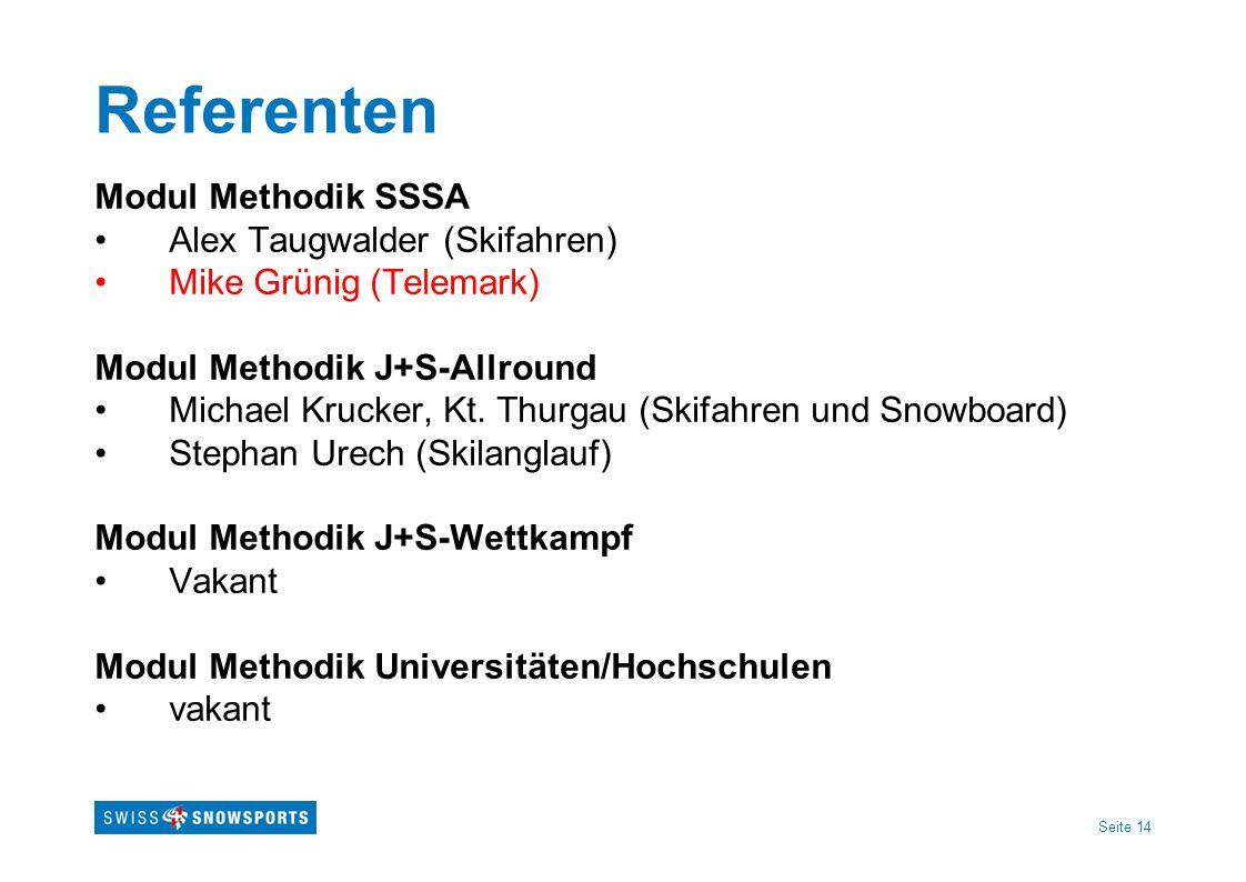 Seite 14 Referenten Modul Methodik SSSA Alex Taugwalder (Skifahren) Mike Grünig (Telemark) Modul Methodik J+S-Allround Michael Krucker, Kt. Thurgau (S