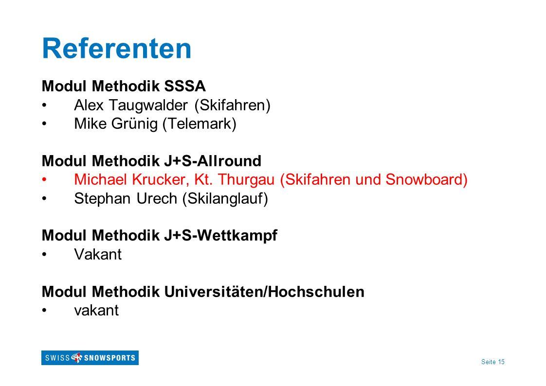 Seite 15 Referenten Modul Methodik SSSA Alex Taugwalder (Skifahren) Mike Grünig (Telemark) Modul Methodik J+S-Allround Michael Krucker, Kt. Thurgau (S