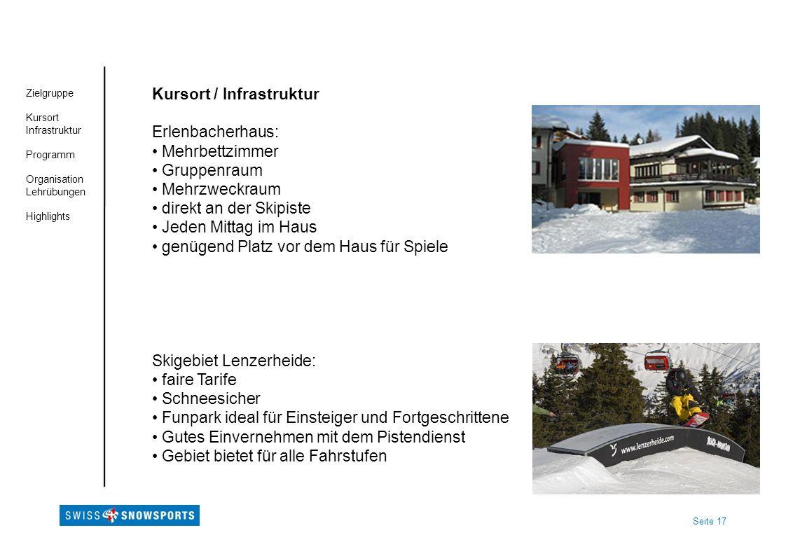 Seite 17 Zielgruppe Kursort Infrastruktur Programm Organisation Lehrübungen Highlights Kursort / Infrastruktur Erlenbacherhaus: Mehrbettzimmer Gruppen