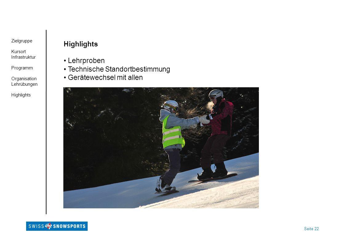 Seite 22 Zielgruppe Kursort Infrastruktur Programm Organisation Lehrübungen Highlights Lehrproben Technische Standortbestimmung Gerätewechsel mit alle