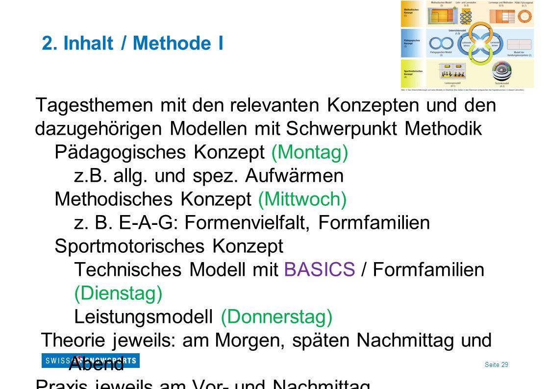 Seite 29 2. Inhalt / Methode I Tagesthemen mit den relevanten Konzepten und den dazugehörigen Modellen mit Schwerpunkt Methodik Pädagogisches Konzept