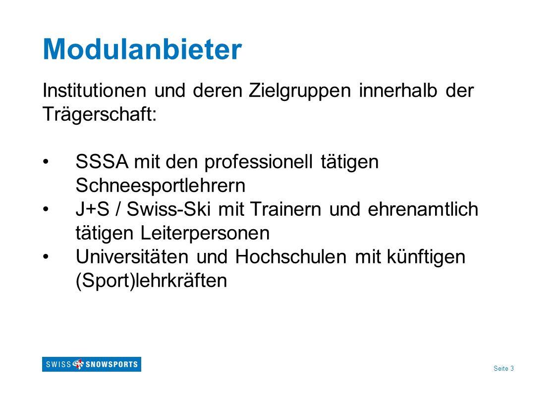 Seite 3 Modulanbieter Institutionen und deren Zielgruppen innerhalb der Trägerschaft: SSSA mit den professionell tätigen Schneesportlehrern J+S / Swis