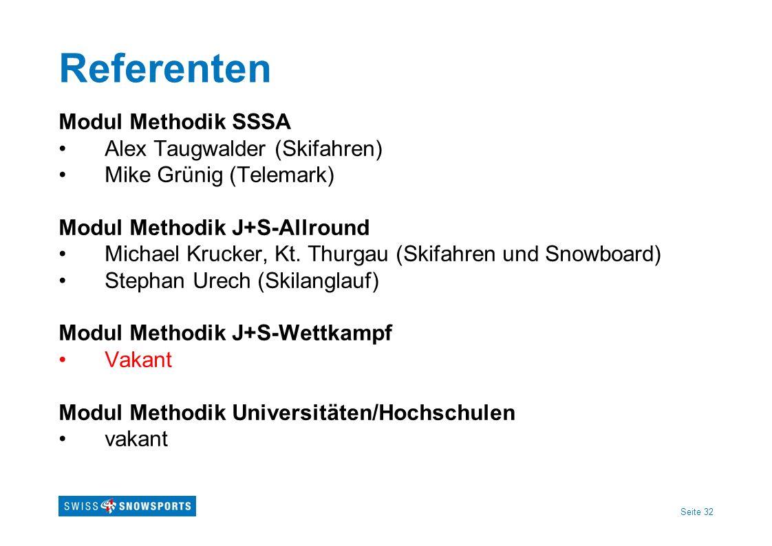 Seite 32 Referenten Modul Methodik SSSA Alex Taugwalder (Skifahren) Mike Grünig (Telemark) Modul Methodik J+S-Allround Michael Krucker, Kt. Thurgau (S