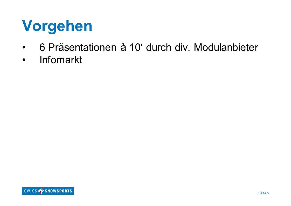 Seite 6 Referenten Modul Methodik SSSA Alex Taugwalder (Skifahren) Mike Grünig (Telemark) Modul Methodik J+S-Allround Michael Krucker, Kt.