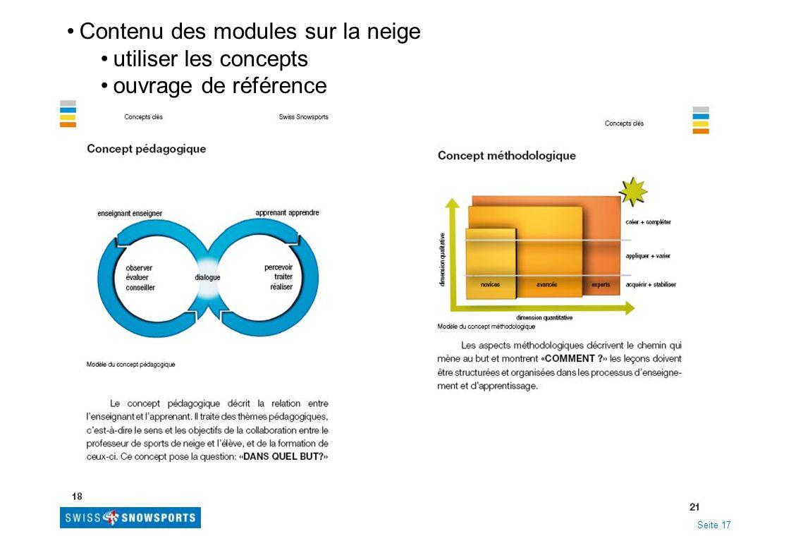 Seite 17 Contenu des modules sur la neige utiliser les concepts ouvrage de référence