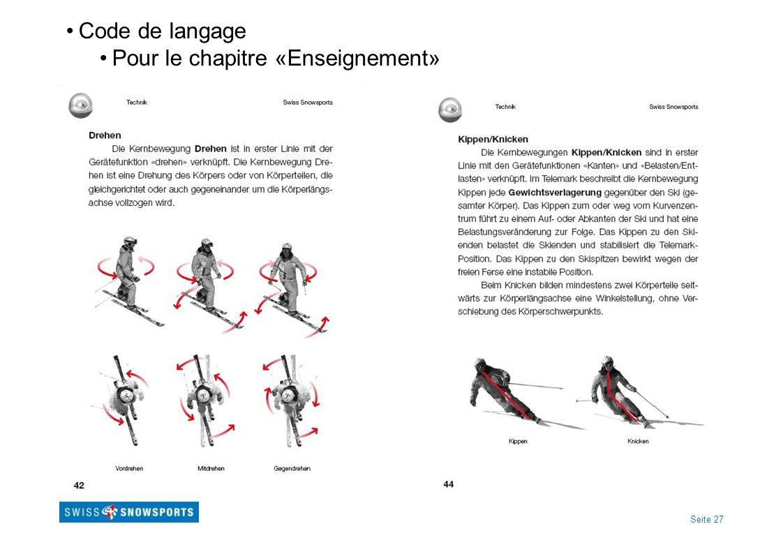 Seite 27 Code de langage Pour le chapitre «Enseignement»