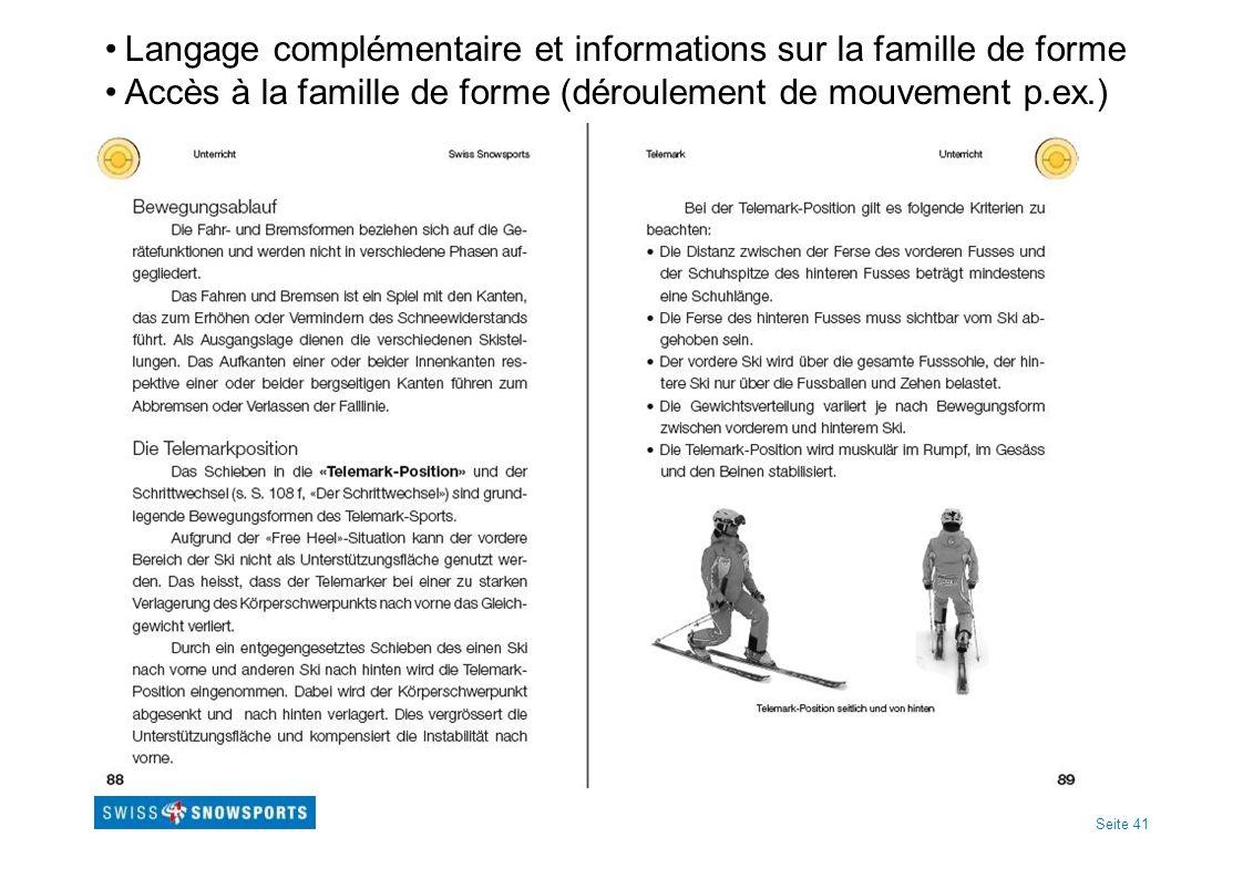 Seite 41 Langage complémentaire et informations sur la famille de forme Accès à la famille de forme (déroulement de mouvement p.ex.)
