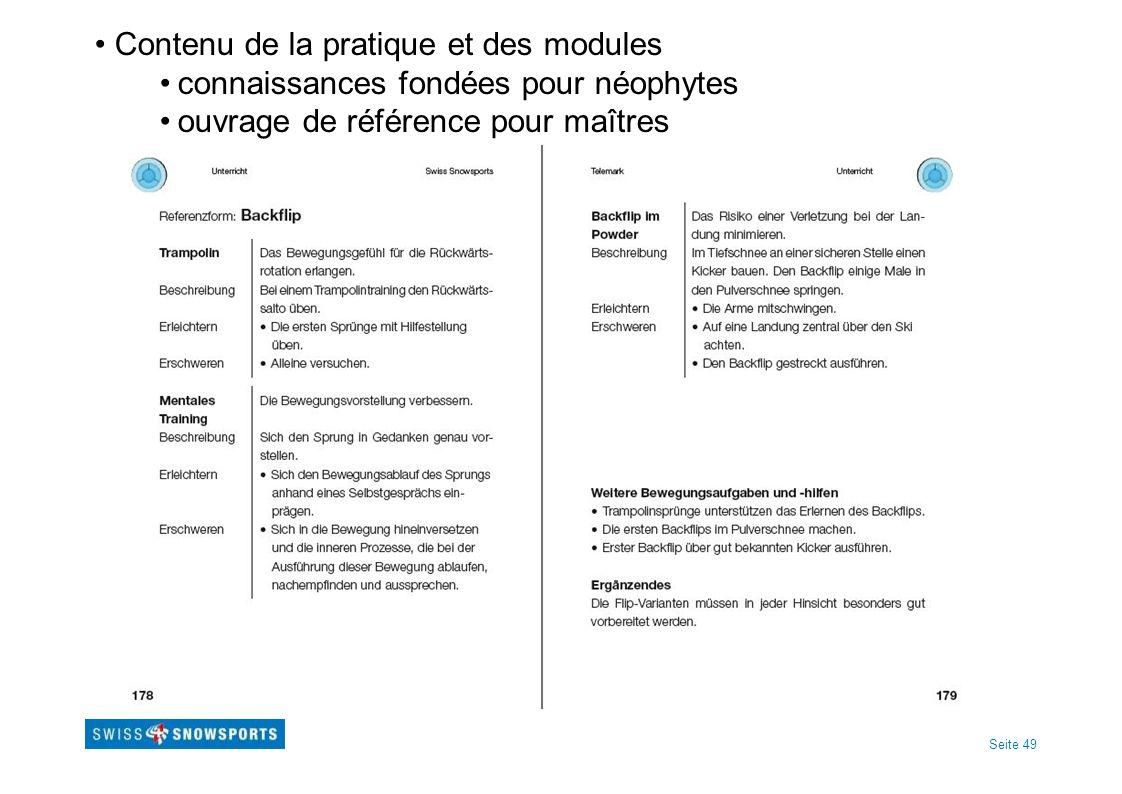 Seite 49 Contenu de la pratique et des modules connaissances fondées pour néophytes ouvrage de référence pour maîtres