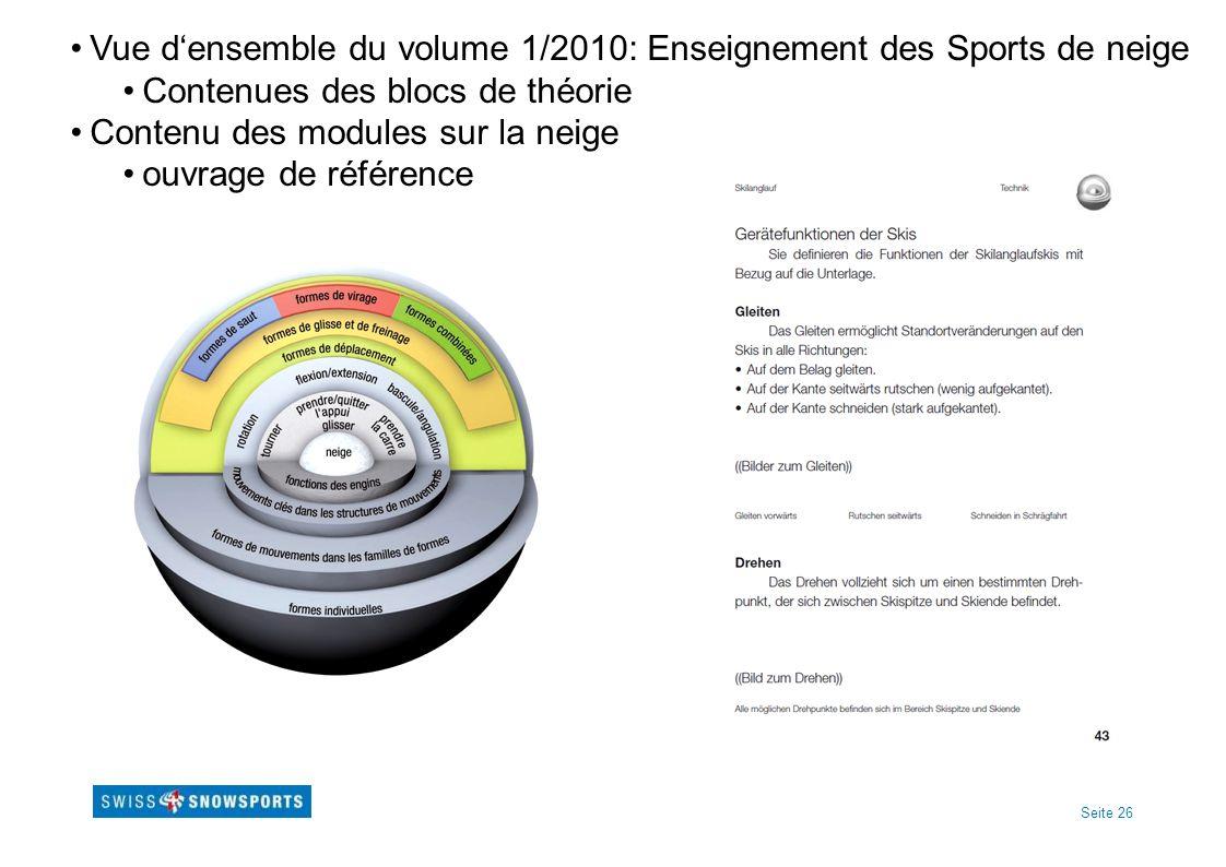 Seite 26 Vue densemble du volume 1/2010: Enseignement des Sports de neige Contenues des blocs de théorie Contenu des modules sur la neige ouvrage de référence