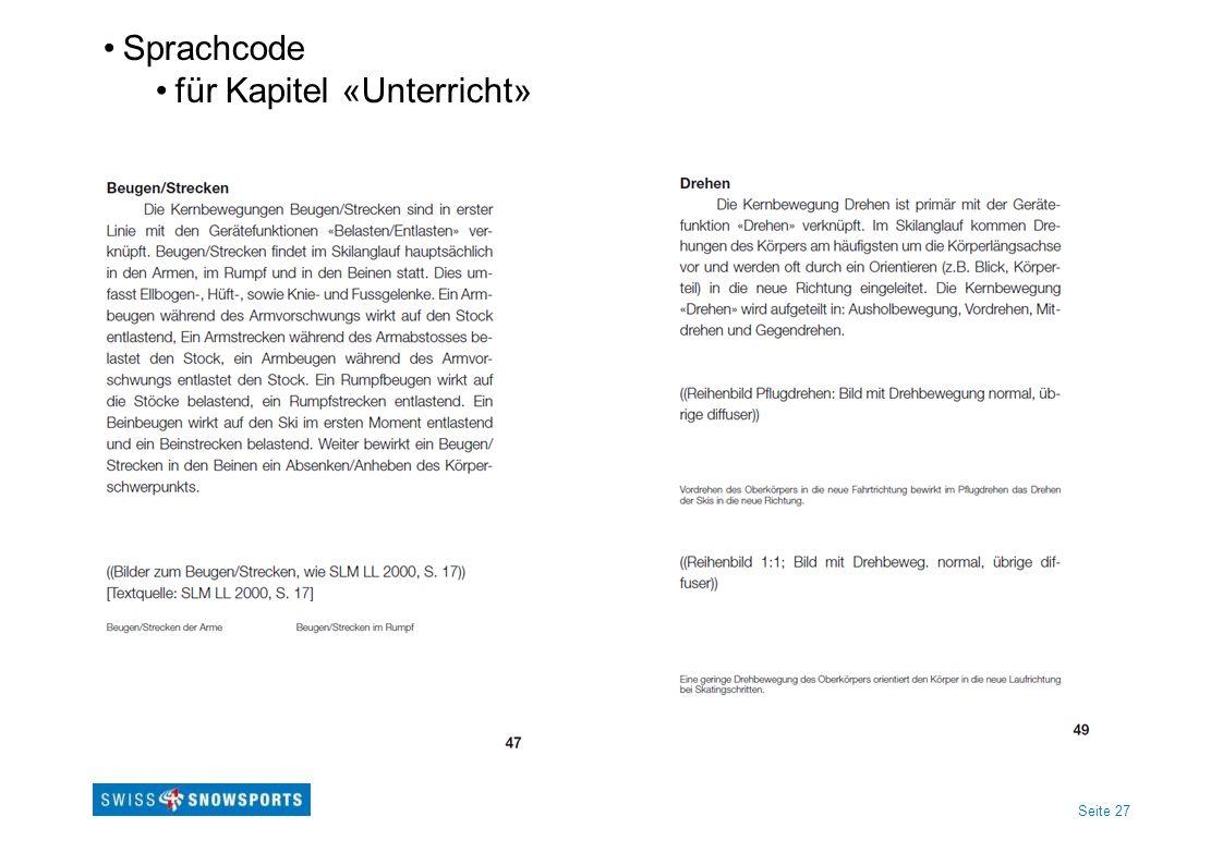 Seite 27 Sprachcode für Kapitel «Unterricht»