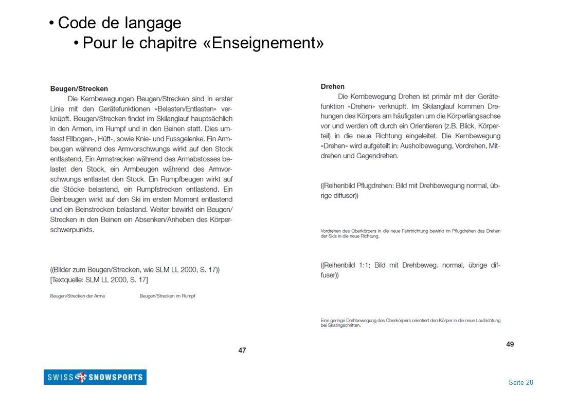 Seite 28 Code de langage Pour le chapitre «Enseignement»
