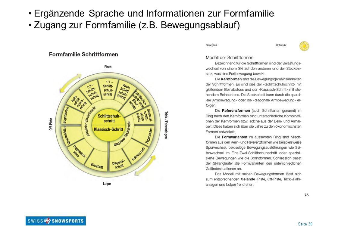 Seite 39 Ergänzende Sprache und Informationen zur Formfamilie Zugang zur Formfamilie (z.B.