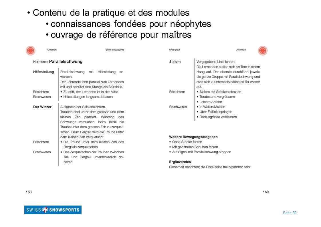Seite 50 Contenu de la pratique et des modules connaissances fondées pour néophytes ouvrage de référence pour maîtres