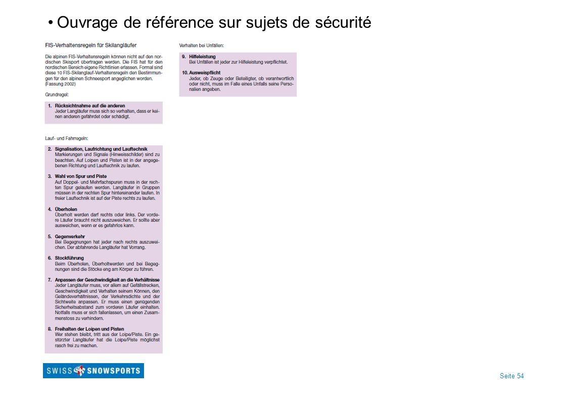 Seite 54 Ouvrage de référence sur sujets de sécurité