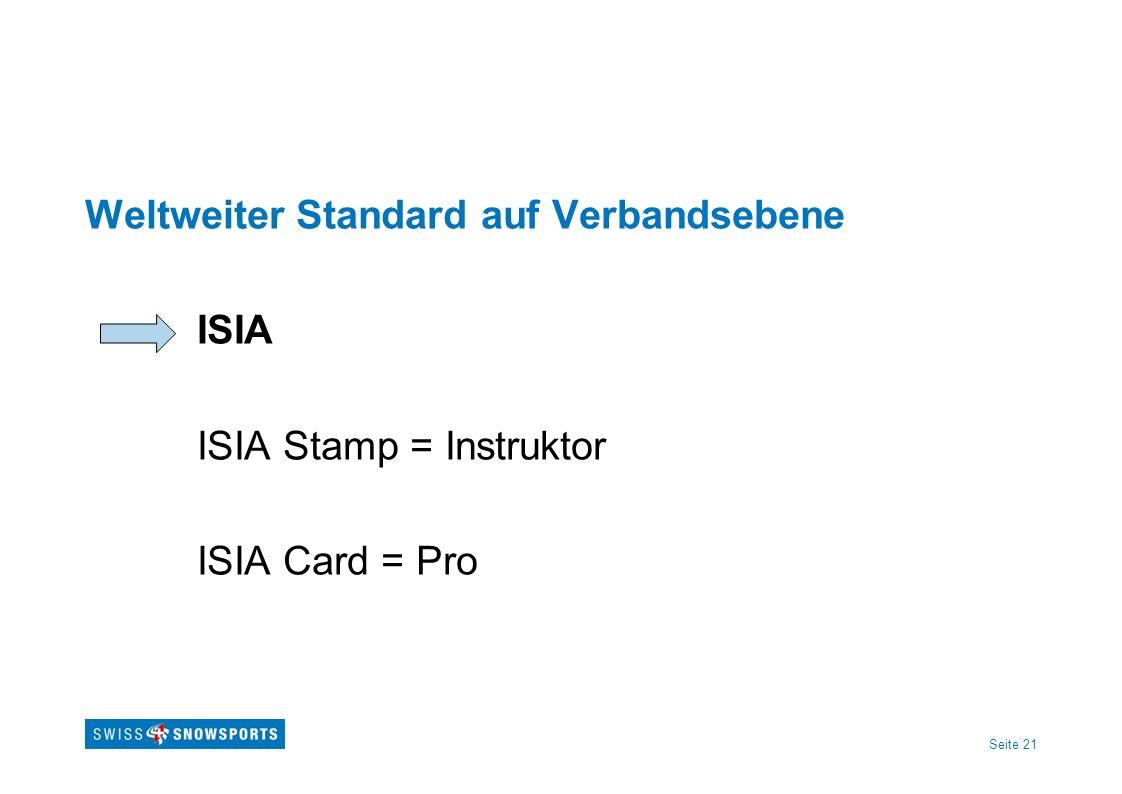 Seite 21 Weltweiter Standard auf Verbandsebene ISIA ISIA Stamp = Instruktor ISIA Card = Pro