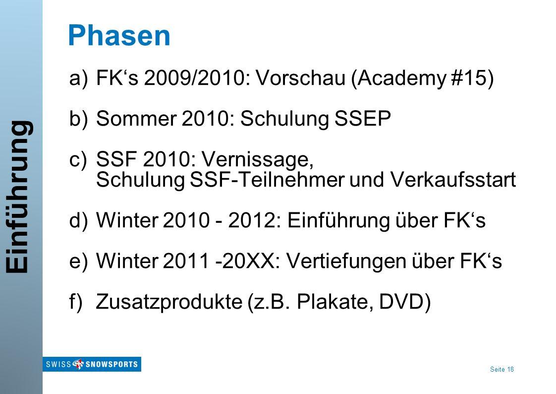 Seite 18 Phasen a)FKs 2009/2010: Vorschau (Academy #15) b)Sommer 2010: Schulung SSEP c)SSF 2010: Vernissage, Schulung SSF-Teilnehmer und Verkaufsstart d)Winter 2010 - 2012: Einführung über FKs e)Winter 2011 -20XX: Vertiefungen über FKs f)Zusatzprodukte (z.B.