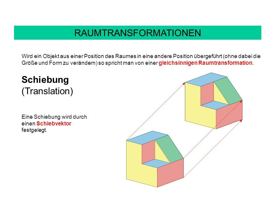 RAUMTRANSFORMATIONEN Wird ein Objekt aus einer Position des Raumes in eine andere Position übergeführt (ohne dabei die Größe und Form zu verändern) so spricht man von einer gleichsinnigen Raumtransformation.