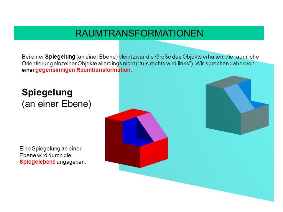 RAUMTRANSFORMATIONEN Bei einer Spiegelung (an einer Ebene) bleibt zwar die Größe des Objekts erhalten, die räumliche Orientierung einzelner Objekte allerdings nicht (aus rechts wird links).