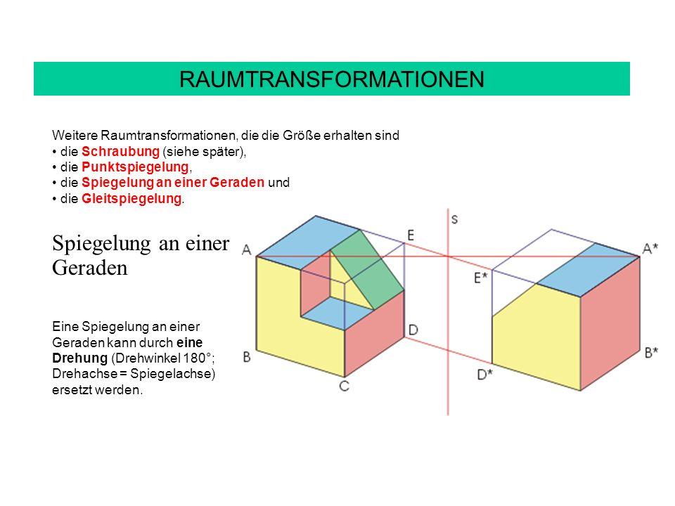 RAUMTRANSFORMATIONEN Weitere Raumtransformationen, die die Größe erhalten sind die Schraubung (siehe später), die Punktspiegelung, die Spiegelung an einer Geraden und die Gleitspiegelung.