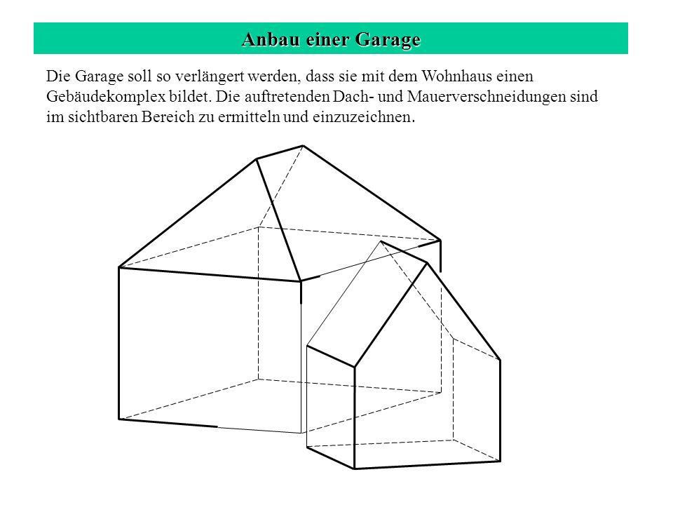 Anbau einer Garage Schnitt der lotrechten Mauern a 1 b 1