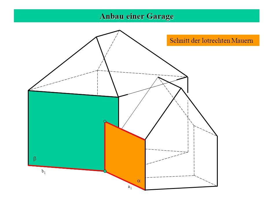 Anbau einer Garage Schnitt der lotrechten Hausmauer mit dem Garagendach c 1 b 1