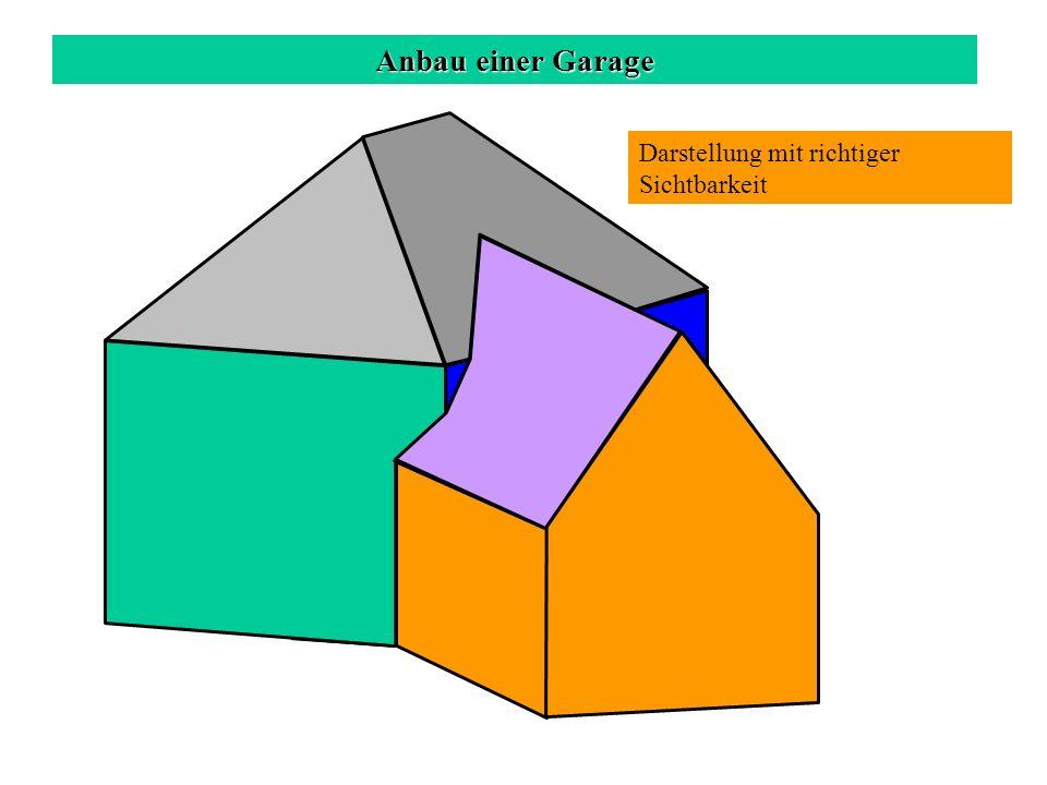 Anbau einer Garage Darstellung mit richtiger Sichtbarkeit
