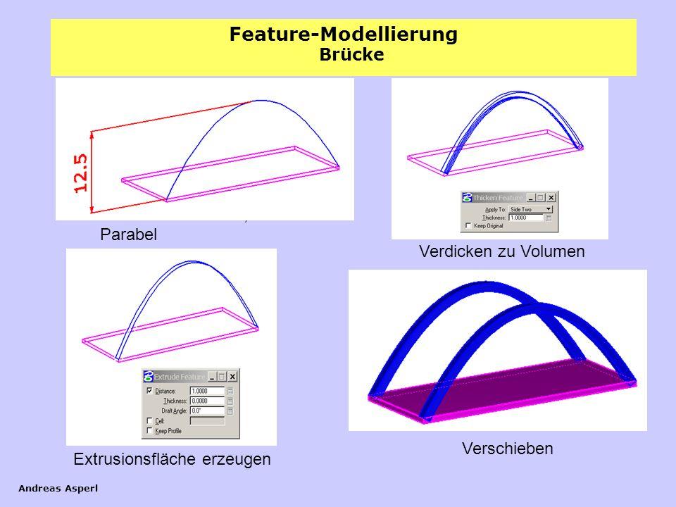 Feature-Modellierung Andreas Asperl Brücke Extrusionsfläche erzeugen Verdicken zu Volumen Verschieben Quader 12 x 30 x 0,7 Parabel