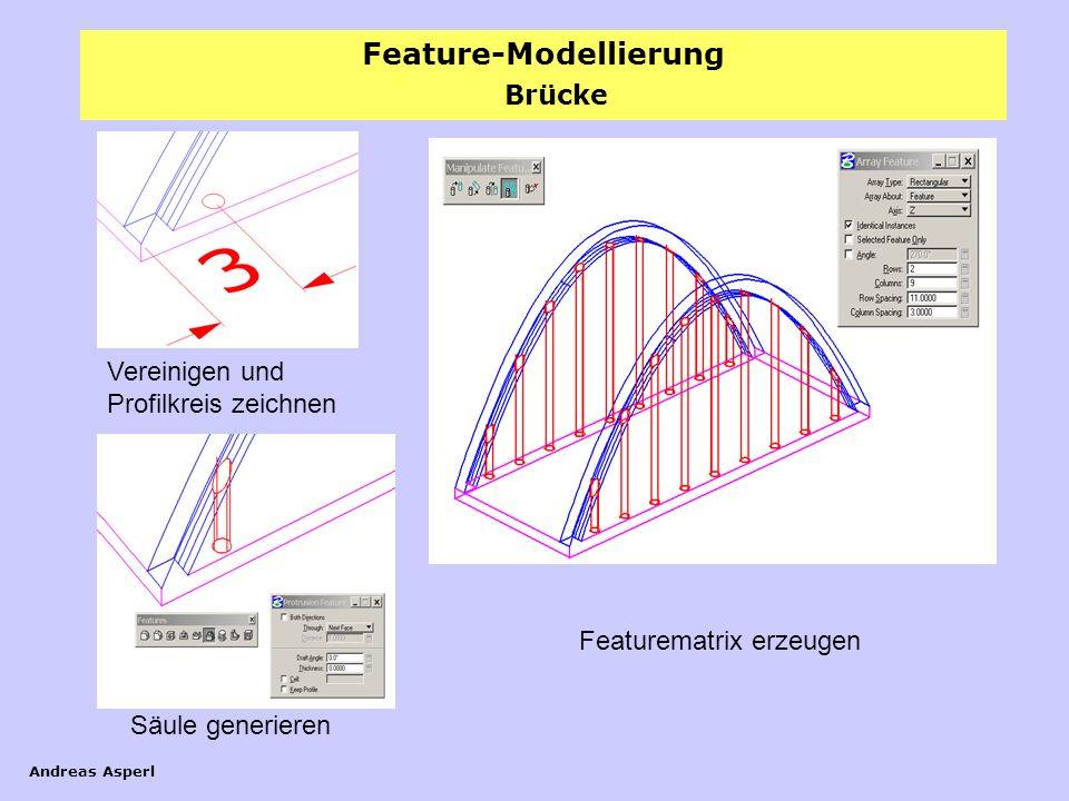 Feature-Modellierung Andreas Asperl Brücke Vereinigen und Profilkreis zeichnen Säule generieren Featurematrix erzeugen