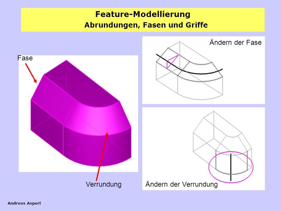 Feature-Modellierung Andreas Asperl Abrundungen, Fasen und Griffe Fase Verrundung Ändern der Fase Ändern der Verrundung