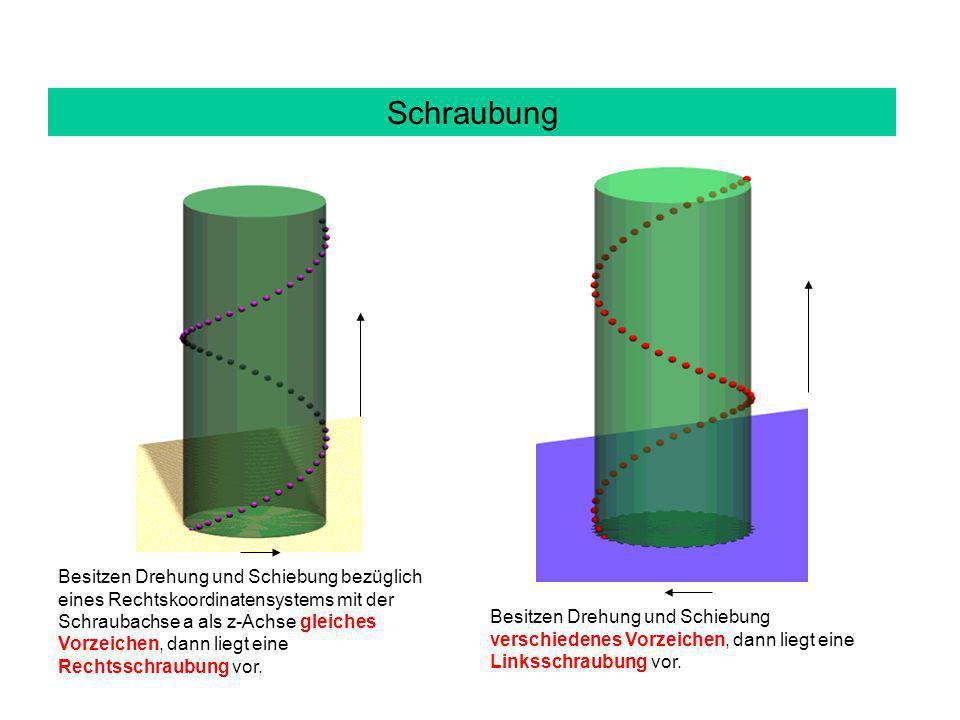Schraubung Besitzen Drehung und Schiebung bezüglich eines Rechtskoordinatensystems mit der Schraubachse a als z-Achse gleiches Vorzeichen, dann liegt