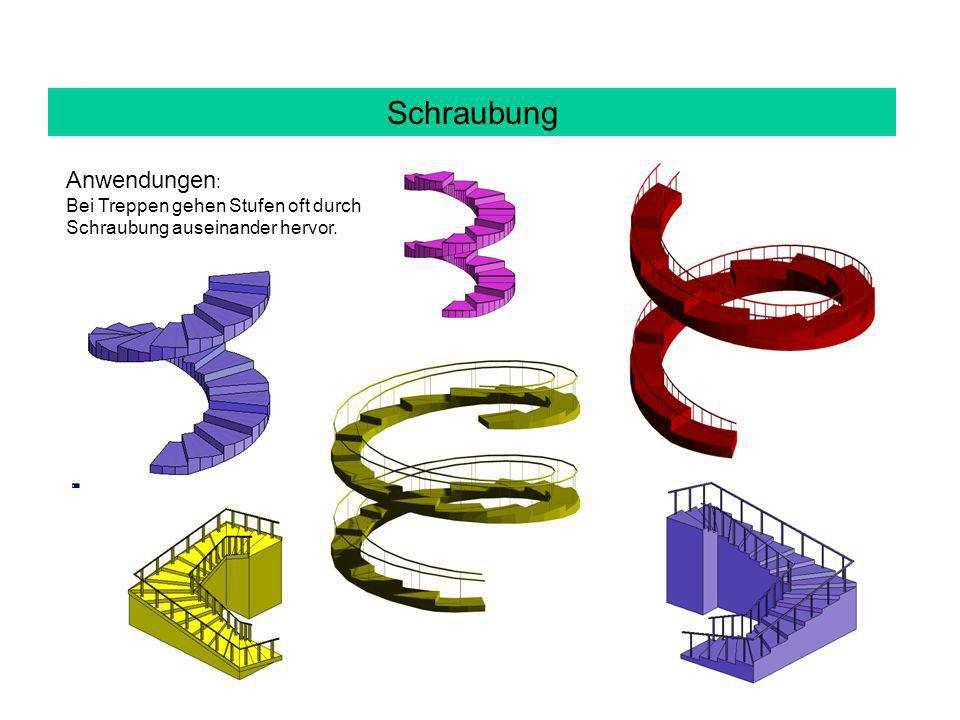 Schraubung Anwendungen : Bei Treppen gehen Stufen oft durch Schraubung auseinander hervor.