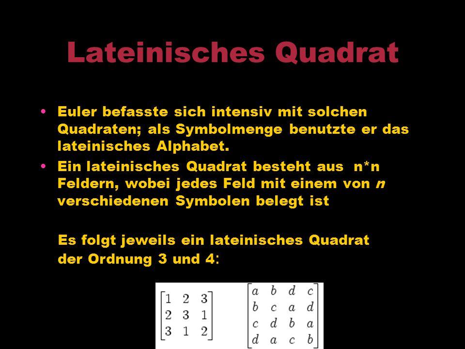 Rösselsprung Euler beschäftigte sich auch mit Schach. Euler führte 1758 das Springerproblem ein.