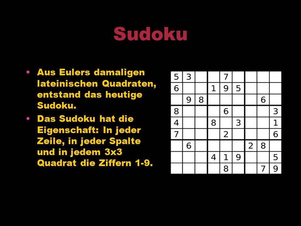 Lateinisches Quadrat Euler befasste sich intensiv mit solchen Quadraten; als Symbolmenge benutzte er das lateinisches Alphabet. Ein lateinisches Quadr