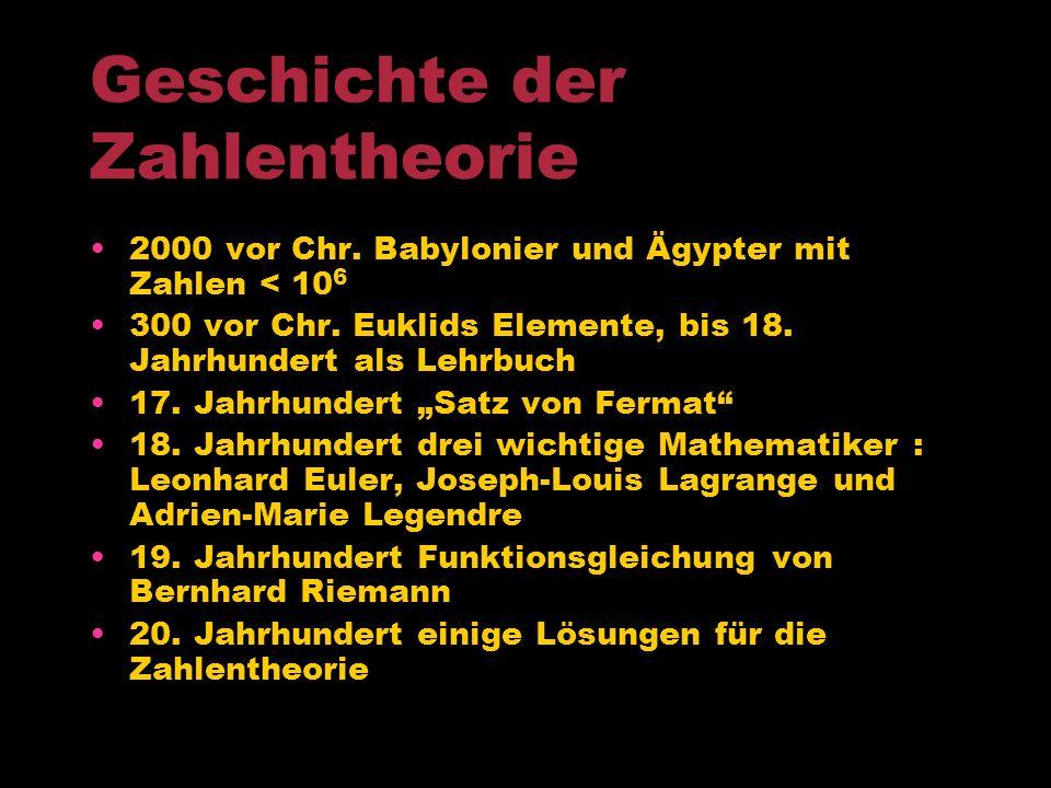 Teilgebiete der Zahlentheorie Elementare Zahlentheorie Kleiner Satz von Fermat Analytische Zahlentheorie Euler (z.B:Zahl e=2,7182…) und Gauss (z.B:Pri