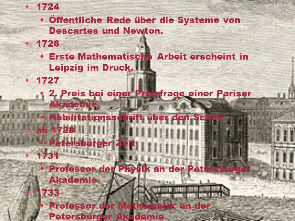 15. April 1707 Geboren als Sohn des reformierten Pfarrers Paulus Euler und Margaretha Brucker in Basel. Heute Gedenktafel an Wohnhaus. 1713 Besuch des