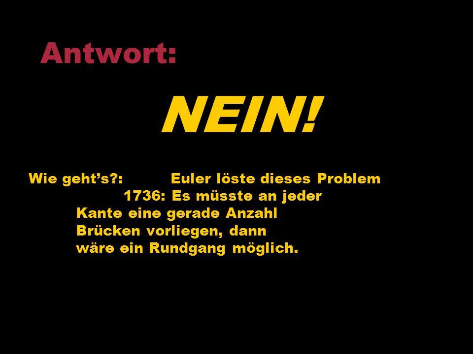 Königsberger Brückenproblem Über 7 Brücken musst du gehen… Ist ein Rundgang möglich? Jede Brücke muss genau 1x überquert werden!