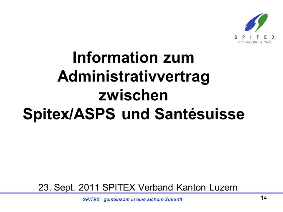 SPITEX - gemeinsam in eine sichere Zukunft 23. Sept. 2011 SPITEX Verband Kanton Luzern Information zum Administrativvertrag zwischen Spitex/ASPS und S
