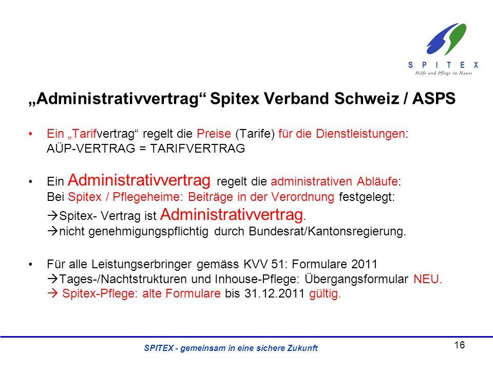 SPITEX - gemeinsam in eine sichere Zukunft Administrativvertrag Spitex Verband Schweiz / ASPS Ein Tarifvertrag regelt die Preise (Tarife) für die Dien