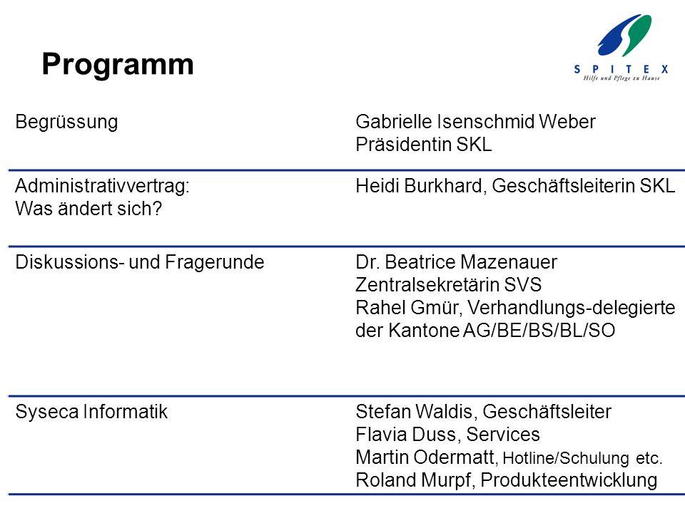 Programm BegrüssungGabrielle Isenschmid Weber Präsidentin SKL Administrativvertrag: Was ändert sich? Heidi Burkhard, Geschäftsleiterin SKL Diskussions