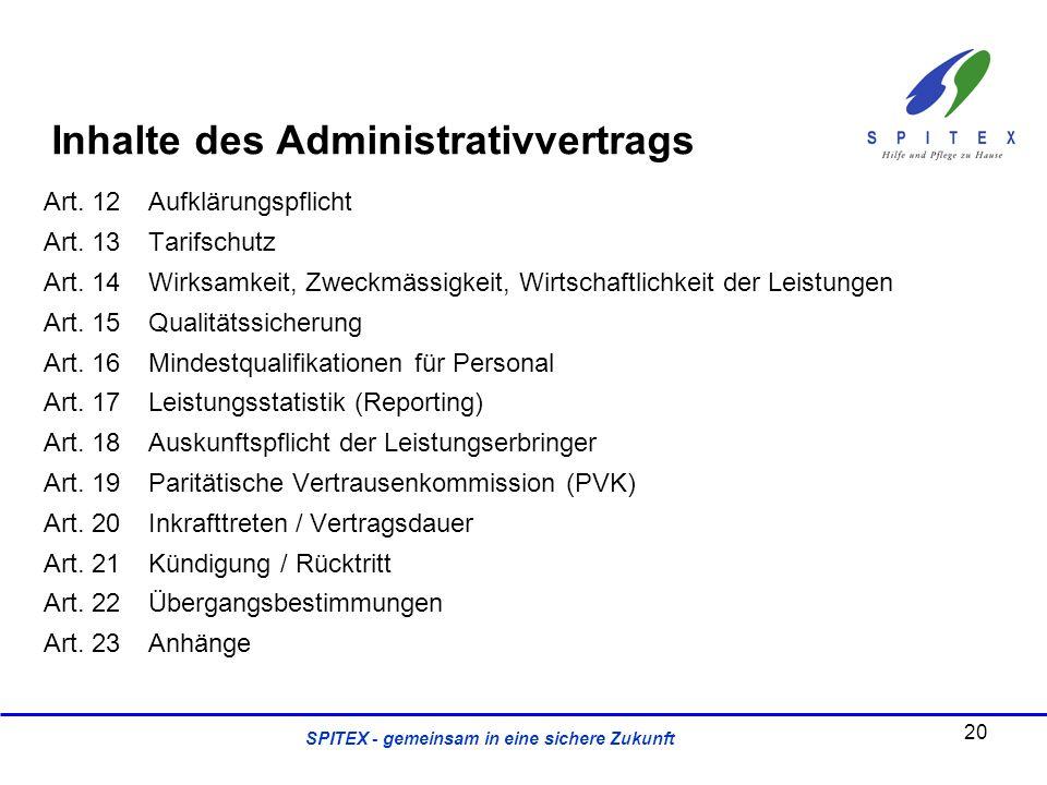 SPITEX - gemeinsam in eine sichere Zukunft Art. 12Aufklärungspflicht Art. 13Tarifschutz Art. 14Wirksamkeit, Zweckmässigkeit, Wirtschaftlichkeit der Le