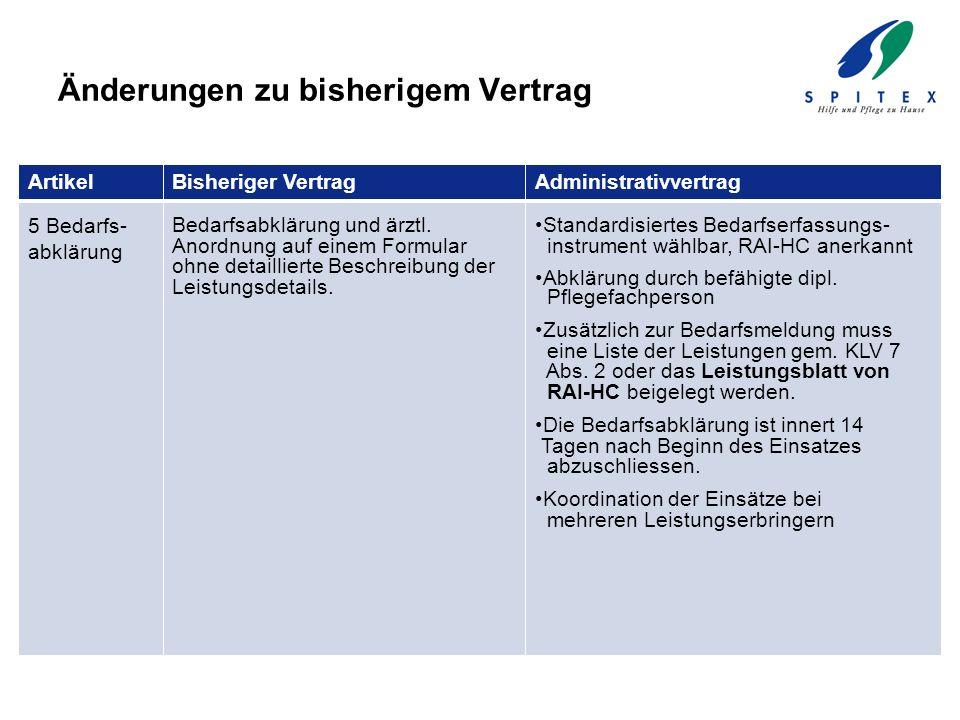 Änderungen zu bisherigem Vertrag ArtikelBisheriger VertragAdministrativvertrag 5 Bedarfs- abklärung Bedarfsabklärung und ärztl. Anordnung auf einem Fo