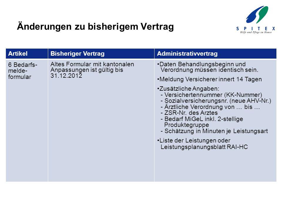 Änderungen zu bisherigem Vertrag ArtikelBisheriger VertragAdministrativvertrag 6 Bedarfs- melde- formular Altes Formular mit kantonalen Anpassungen is