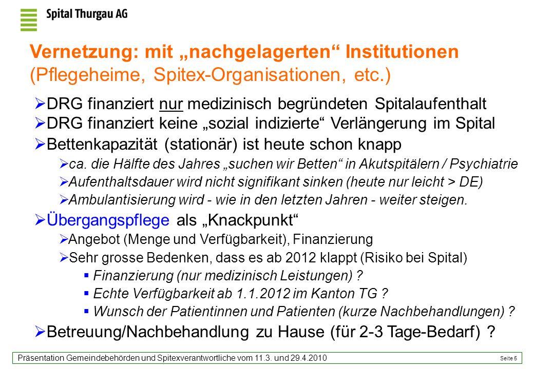 Seite 5 Präsentation Gemeindebehörden und Spitexverantwortliche vom 11.3. und 29.4.2010 DRG finanziert nur medizinisch begründeten Spitalaufenthalt DR