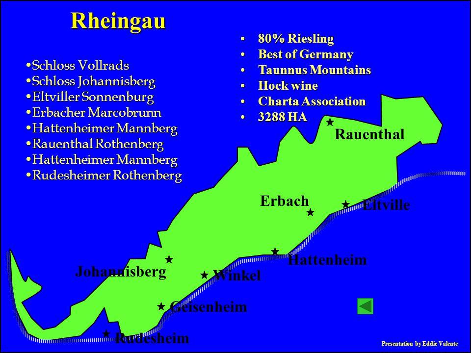 Presentation by Eddie Valente Rheingau 80% Riesling80% Riesling Best of GermanyBest of Germany Taunnus MountainsTaunnus Mountains Hock wineHock wine C