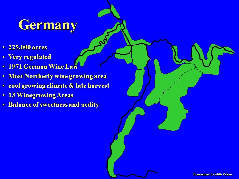 Presentation by Eddie Valente RieslingRiesling –20% of plantings –most important for quality Muller ThurgauMuller Thurgau –most widely planted SylvanerSylvaner Gewurztraminer, Rulander, Kerner, Gutadel, Scheurebe, HuxelrubeGewurztraminer, Rulander, Kerner, Gutadel, Scheurebe, Huxelrube Grape Varieties