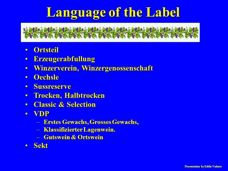 Presentation by Eddie Valente OrtsteilOrtsteil ErzeugerabfullungErzeugerabfullung Winzerverein, WinzergenossenschaftWinzerverein, Winzergenossenschaft