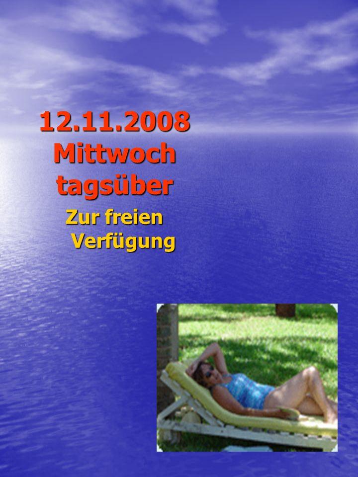 Donnerstag,13.11.2008 18:00 Uhr Begrüßung der Teilnehmer Verlosung der Boote anschließend Gemeinsames Abendessen