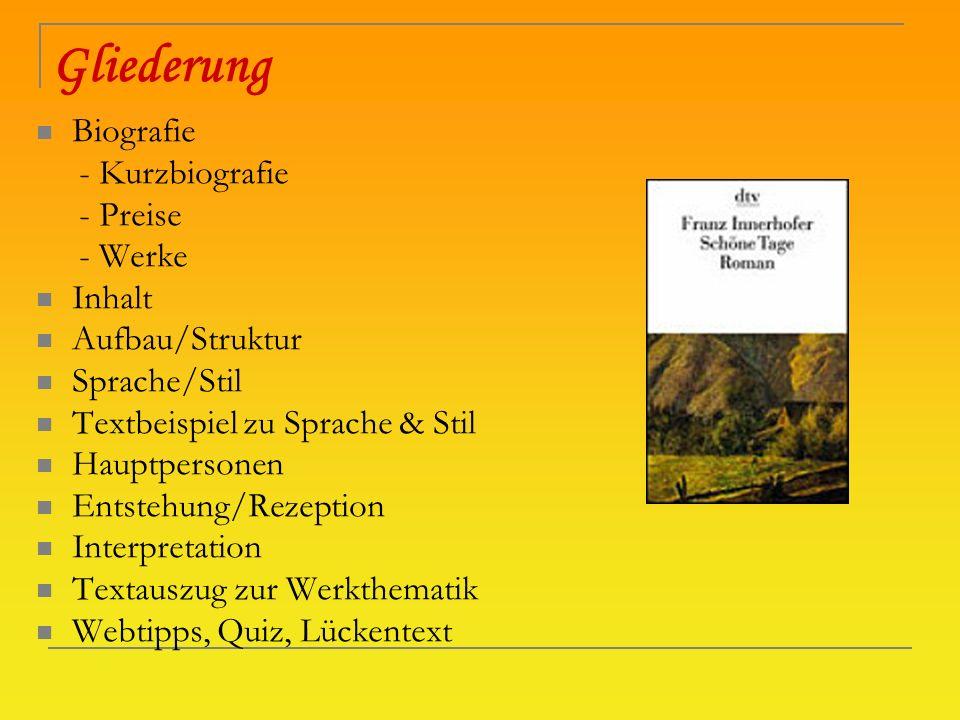 Gliederung Biografie - Kurzbiografie - Preise - Werke Inhalt Aufbau/Struktur Sprache/Stil Textbeispiel zu Sprache & Stil Hauptpersonen Entstehung/Reze