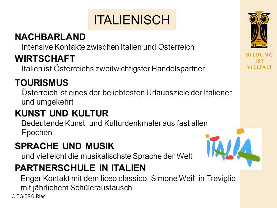 © BG/BRG Ried ITALIENISCH NACHBARLAND Intensive Kontakte zwischen Italien und Österreich Italien ist Österreichs zweitwichtigster Handelspartner Österreich ist eines der beliebtesten Urlaubsziele der Italiener und umgekehrt Bedeutende Kunst- und Kulturdenkmäler aus fast allen Epochen und vielleicht die musikalischste Sprache der Welt WIRTSCHAFT TOURISMUS KUNST UND KULTUR SPRACHE UND MUSIK PARTNERSCHULE IN ITALIEN Enger Kontakt mit dem liceo classico Simone Weil in Treviglio mit jährlichem Schüleraustausch